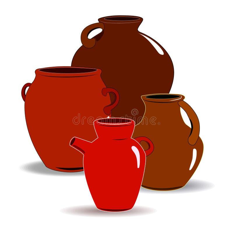 Kruka En upps?ttning av krukmakeri Etnisk keramik med prydnaden krukmakeri keramiskt vektor illustrationer