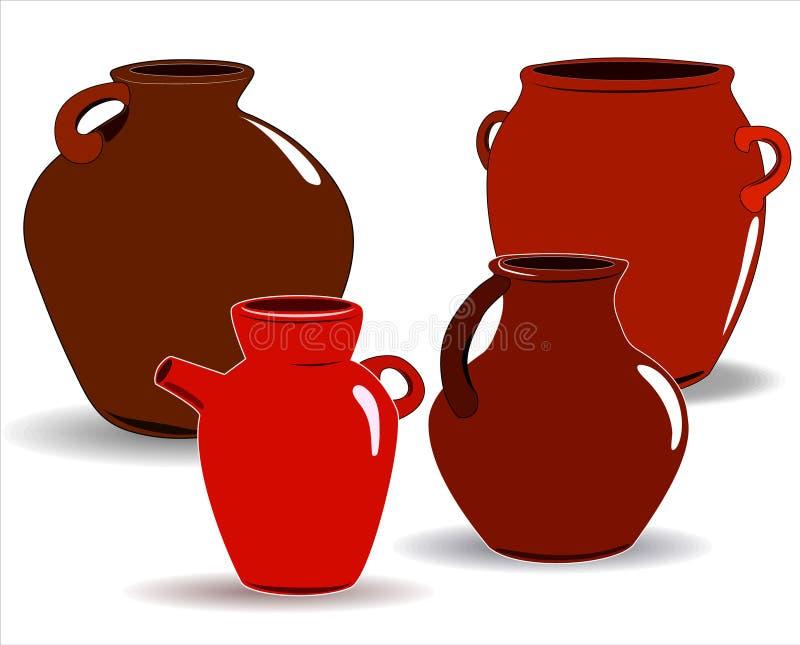Kruka En upps?ttning av krukmakeri Etnisk keramik med prydnaden krukmakeri keramiskt royaltyfri illustrationer