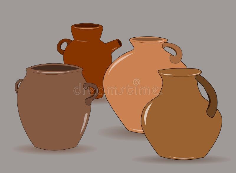Kruka En upps?ttning av krukmakeri Etnisk keramik med prydnaden krukmakeri keramiskt illustration vektor illustrationer