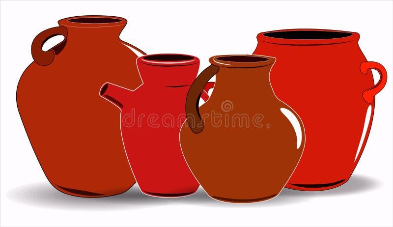 Kruka En upps?ttning av krukmakeri Etnisk keramik med prydnaden krukmakeri keramiskt stock illustrationer
