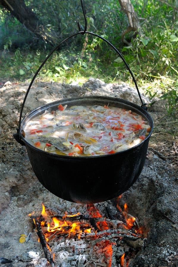 Kruka med utomhus- varm mat royaltyfri foto