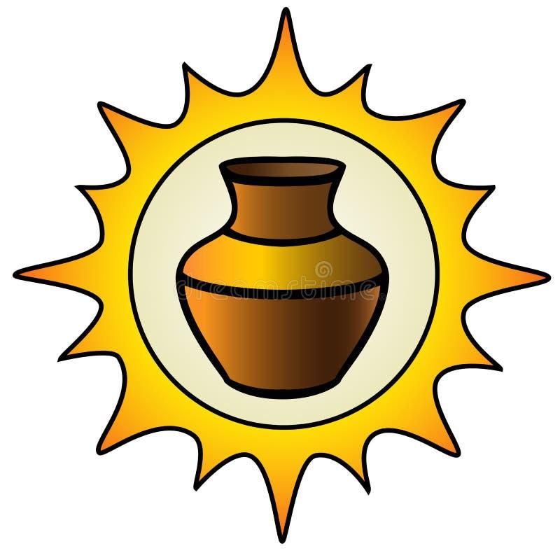 Kruka Solen och en leratillbringare logo för krukmakeriseminariet Etnisk keramik krukmakeri kulört stock illustrationer