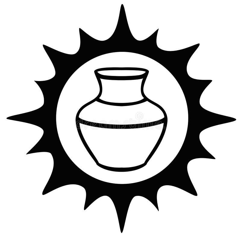 Kruka Solen och en leratillbringare logo för krukmakeriseminariet Etnisk keramik krukmakeri Linje teckning vektor illustrationer