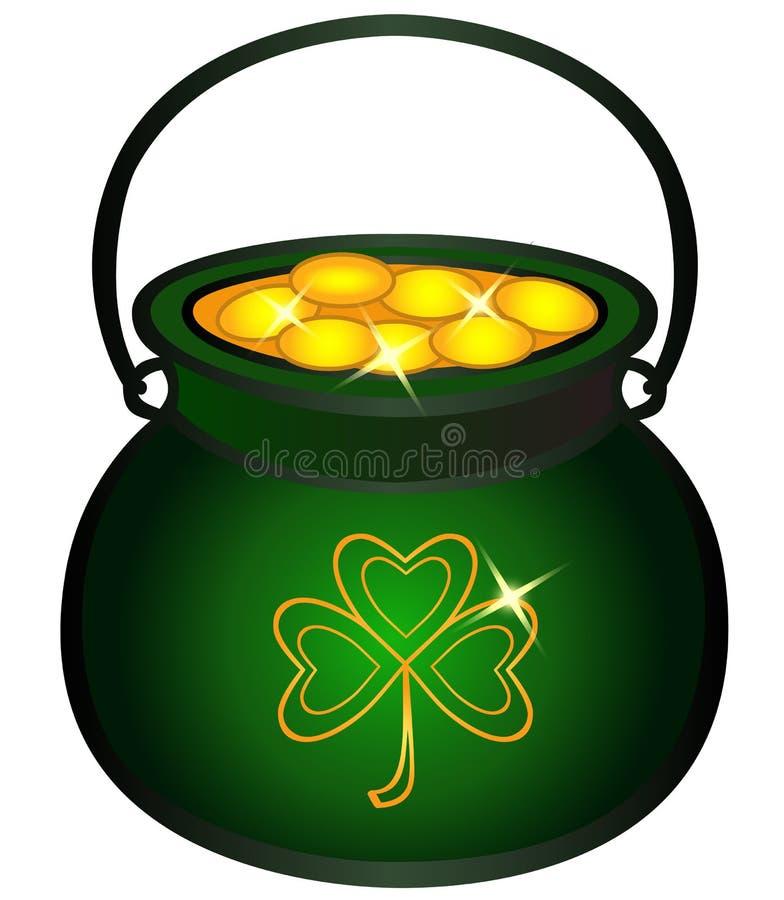 Kruka som fylls med guld- mynt Kittel med guld- keltisk mytologi, irländska ferier royaltyfri illustrationer