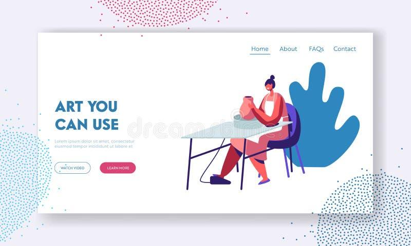 Krukmakeri seminarium, keramik Art Concept Website Landing Page Kvinnligt tecken som hugger det nya redskapet med det roterande h stock illustrationer