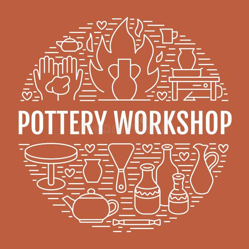 Krukmakeriseminariet, keramik klassificerar banerillustrationen stock illustrationer