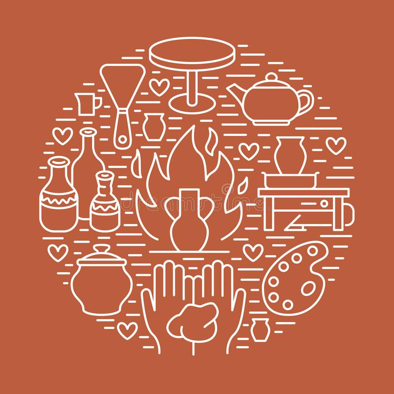 Krukmakeriseminariet, keramik klassificerar banerillustrationen vektor illustrationer