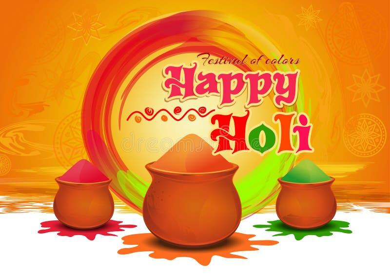 Krukor med färgrikt gulaal, pulverfärg för festival av färger lyckliga Holi Lyckligt Holi hälsningkort stock illustrationer
