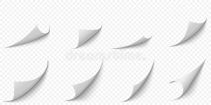 Krullade pappersh?rn Kurvsidahörnet, sidakantkrullningen och vriden legitimationshandlingar täcker med den realistiska skuggavekt stock illustrationer