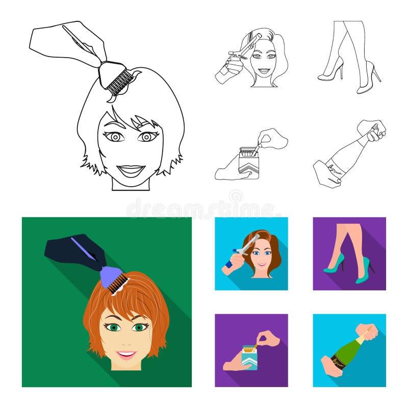 Krullande hår, höga häl och annan rengöringsduksymbol i översikten, lägenhetstil En packe av cigaretter, en flaska av champagne i vektor illustrationer
