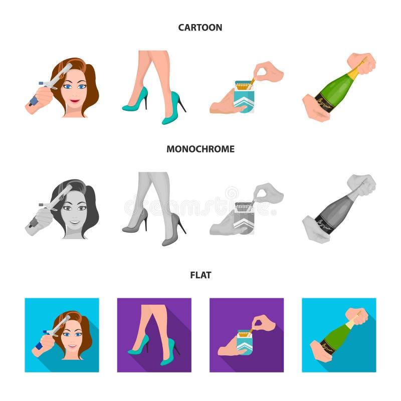 Krullande hår, höga häl och annan rengöringsduksymbol i tecknade filmen, lägenhet, monokrom stil En packe av cigaretter, en flask stock illustrationer