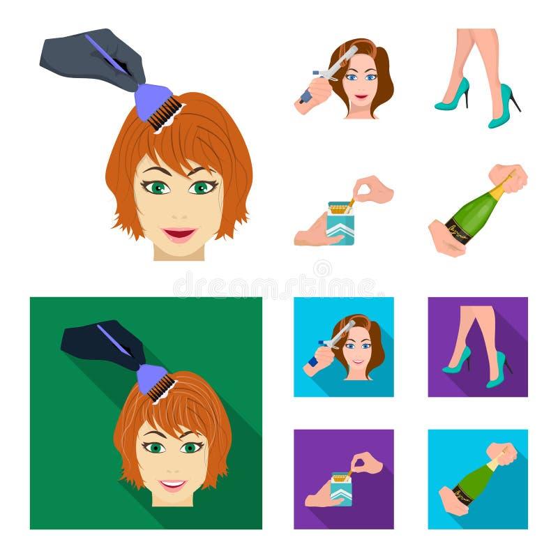 Krullande hår, höga häl och annan rengöringsduksymbol i tecknade filmen, lägenhetstil En packe av cigaretter, en flaska av champa royaltyfri illustrationer