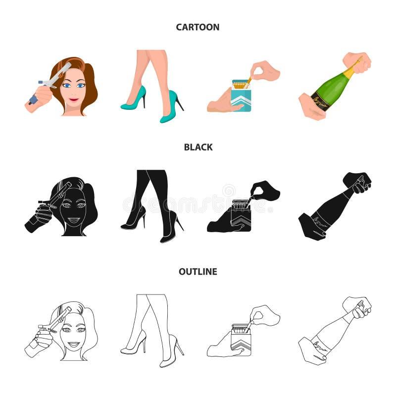 Krullande hår, höga häl och annan rengöringsduksymbol i tecknade filmen, svart, översiktsstil En packe av cigaretter, en flaska a vektor illustrationer