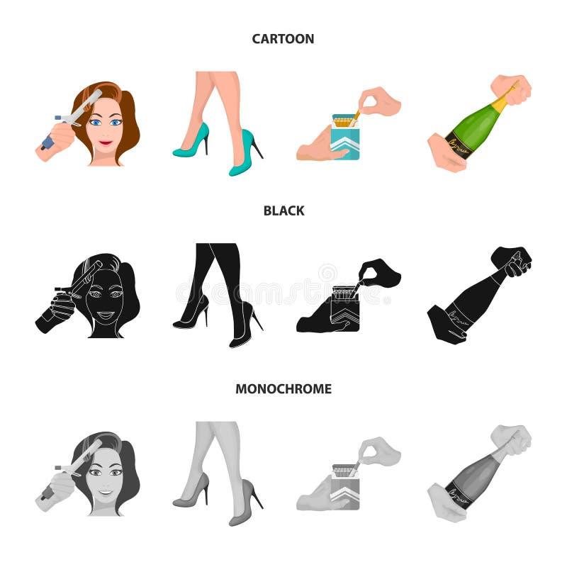 Krullande hår, höga häl och annan rengöringsduksymbol i tecknade filmen, svart, monokrom stil En packe av cigaretter, en flaska a stock illustrationer