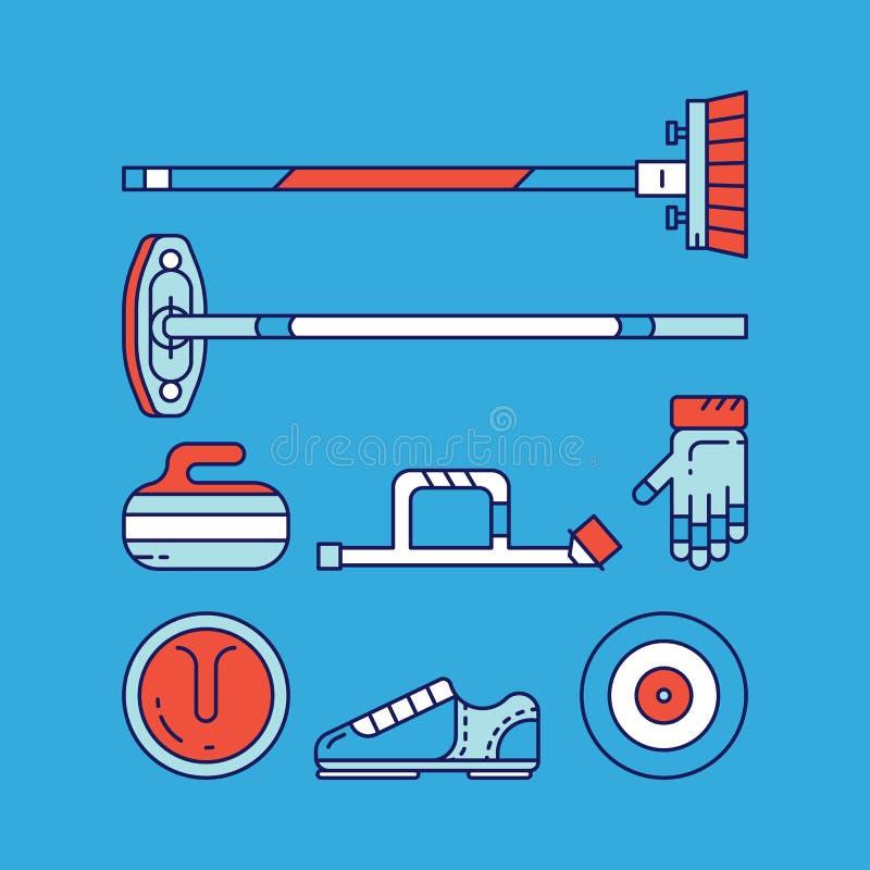 Krullande huvudsakliga symboler och symboler för sport arkivbilder