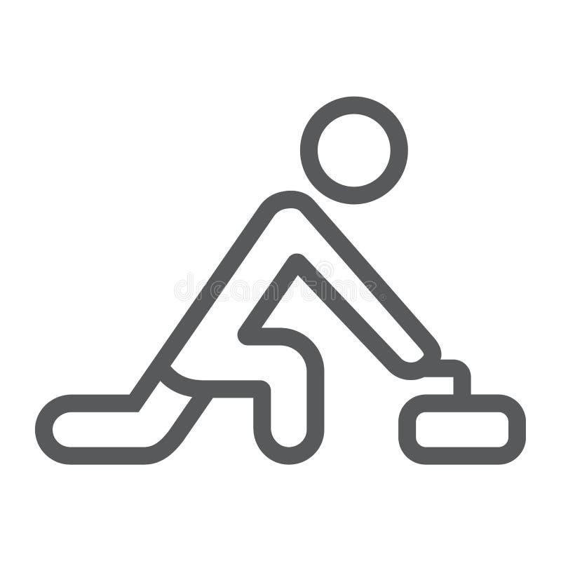 Krullande modig linje symbol, sport och vinter, hårrulleidrottsman nentecken, vektordiagram, en linjär modell på en vit bakgrund vektor illustrationer