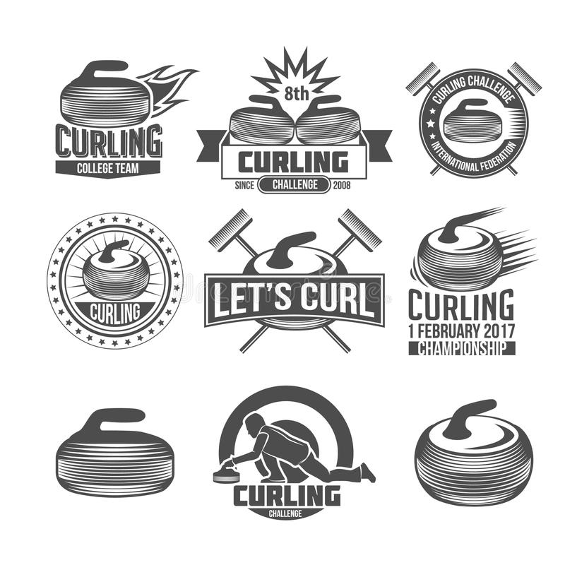 Krullande sportemblemuppsättning royaltyfri illustrationer