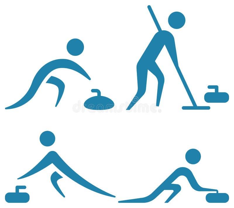 Krullande sportsymboler royaltyfri illustrationer