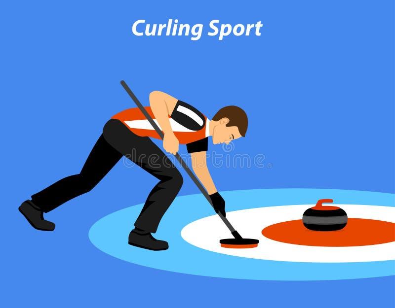 Krullande sportvektorillustration stock illustrationer