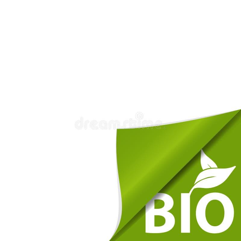 Krullat hörn - grönt Bio slogantecken med sidor - vektorillustration royaltyfri illustrationer