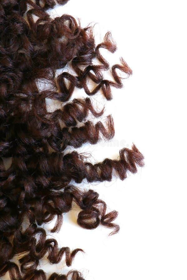Krullend bruin die haar op een witte geïsoleerde achtergrond wordt geïsoleerd stock afbeelding