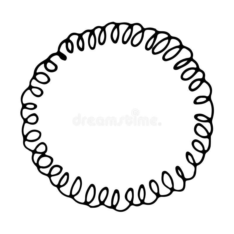 Krullend zwart-wit vectorcirkelkader, wervelings vectorembleem, getrokken hand stock illustratie