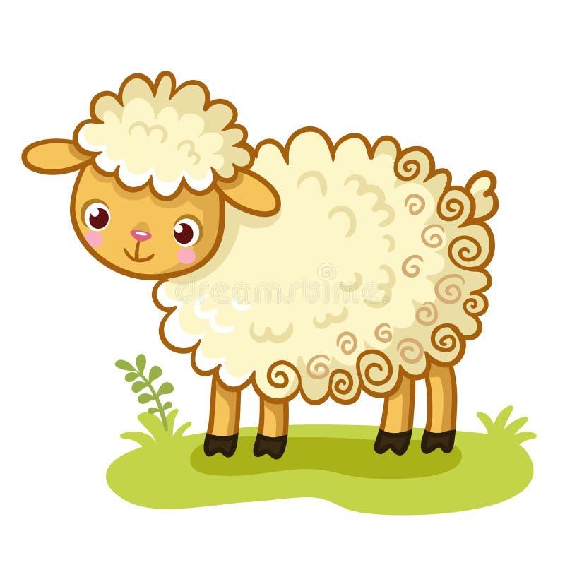 Krullende schapentribunes op een open plek royalty-vrije illustratie