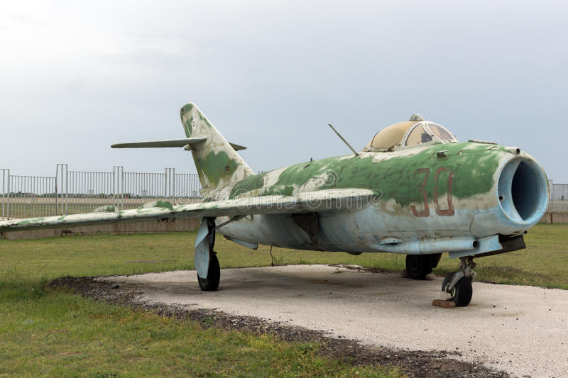KRUMOVO, PLOVDIV, BULGARIA - 29 APRIL 2017: Fighter Mikoyan-Gurevich MiG-15 Aviation Museum near Plovdiv Airport stock photos