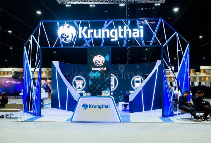 Krung Thai or Krungthai Bank Public Company被限制在陈列摊 图库摄影