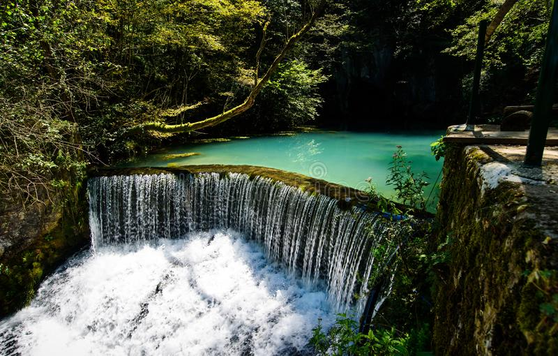 Krupaj vrelo a natural water well in Serbia stock photo
