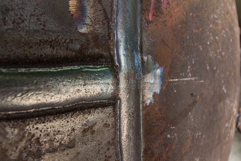 Krupon spawki złącze ciśnieniowego naczynia węgla stali tło zdjęcia royalty free