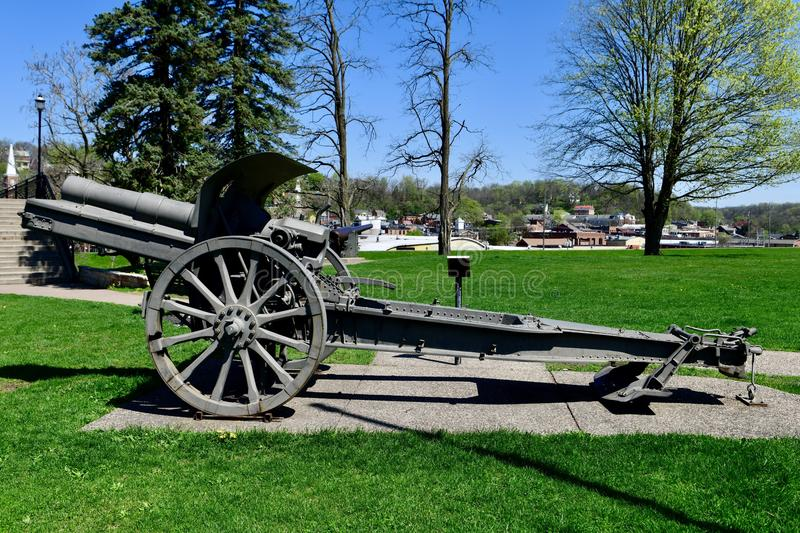 A 1913 Krupp Howitzer. This is a Spring picture of a German 1913 Krupp Howitzer on display at Grant Park located in Galena, Illinois in Jo Daviess County. This royalty free stock image