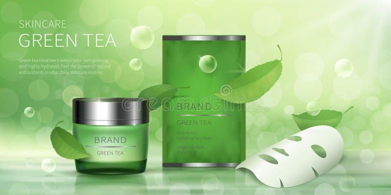 Krus för grönt exponeringsglas och ansikts- arkmaskering royaltyfri illustrationer
