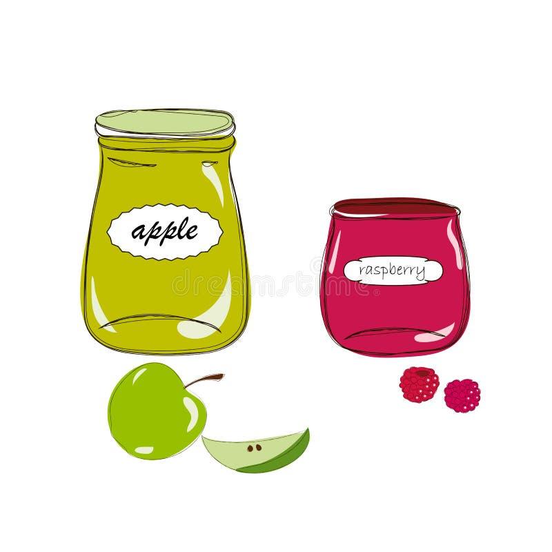 Krus med äpple- och hallondriftstopp stock illustrationer