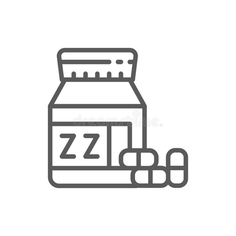 Kruset med sömntabletter fodrar symbolen royaltyfri illustrationer