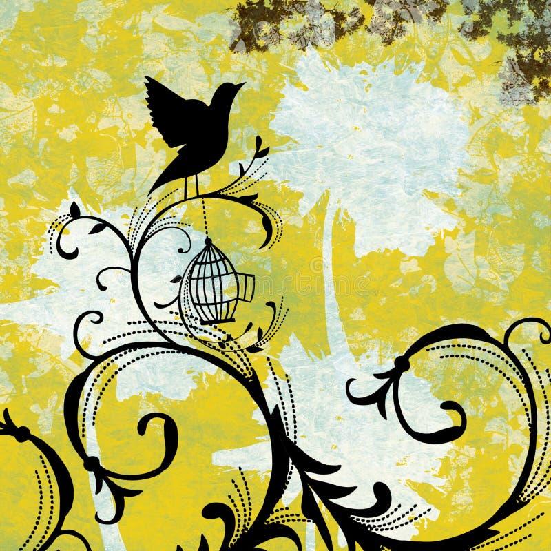 Krusidull för GrungeSplatterfågelbur royaltyfri illustrationer
