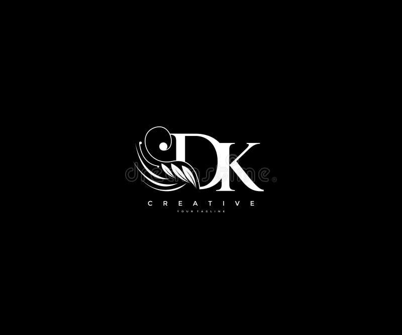 Krusidullar för skönhet för initial DK-bokstav smyckar lyxiga monogramlogo vektor illustrationer