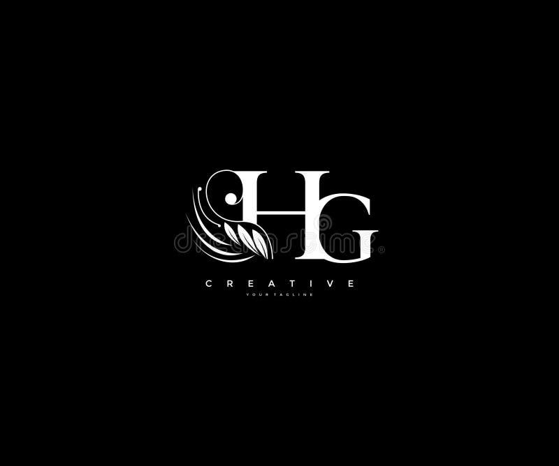 Krusidullar för skönhet för initial HG-bokstav smyckar lyxiga monogramlogo vektor illustrationer