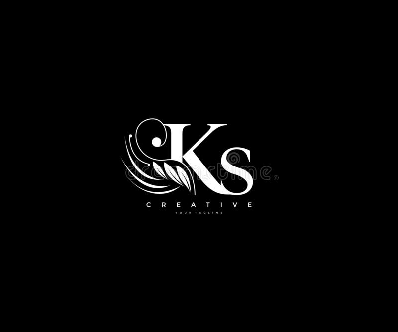 Krusidullar för skönhet för initial KS-bokstav smyckar lyxiga monogramlogo royaltyfri illustrationer