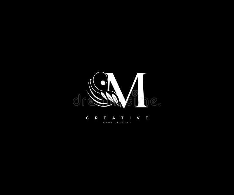 Krusidullar för skönhet för initial M-bokstav smyckar lyxiga monogramlogo stock illustrationer