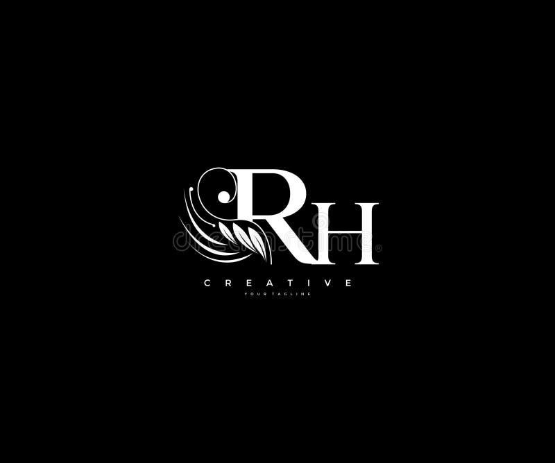 Krusidullar för skönhet för initial RH-bokstav smyckar lyxiga monogramlogo royaltyfri illustrationer