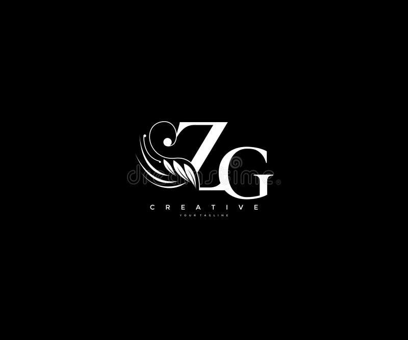 Krusidullar för skönhet för initial ZG-bokstav smyckar lyxiga monogramlogo vektor illustrationer