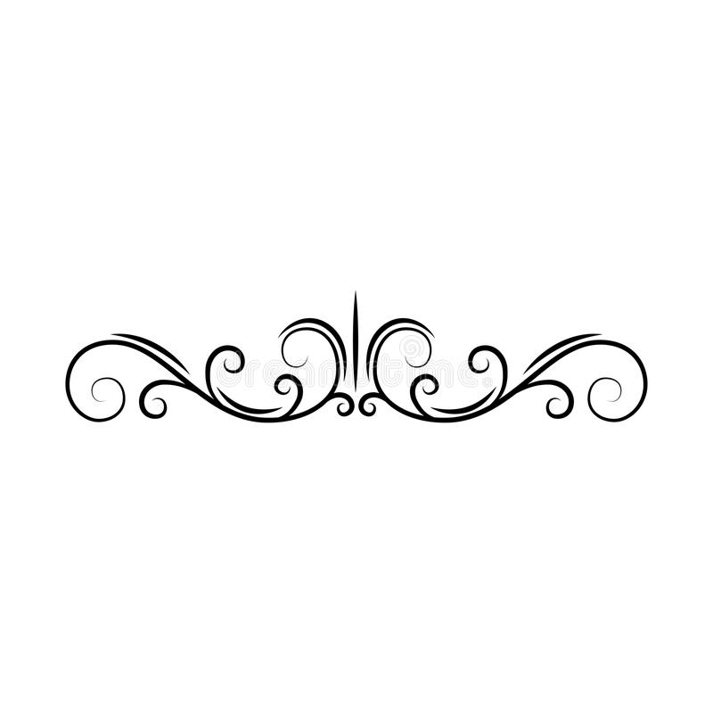 Krusidullsidaavdelare Dekorativ snirkelsidagräns Virvlar krullning Bokdekor Dekorativ ram för filigran vektor royaltyfri illustrationer