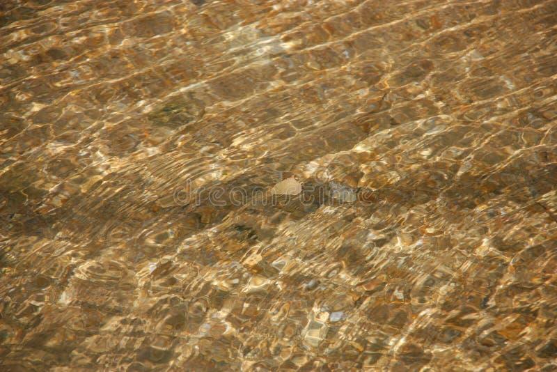 Krusig klar vattenyttersida med gula reflexioner fotografering för bildbyråer