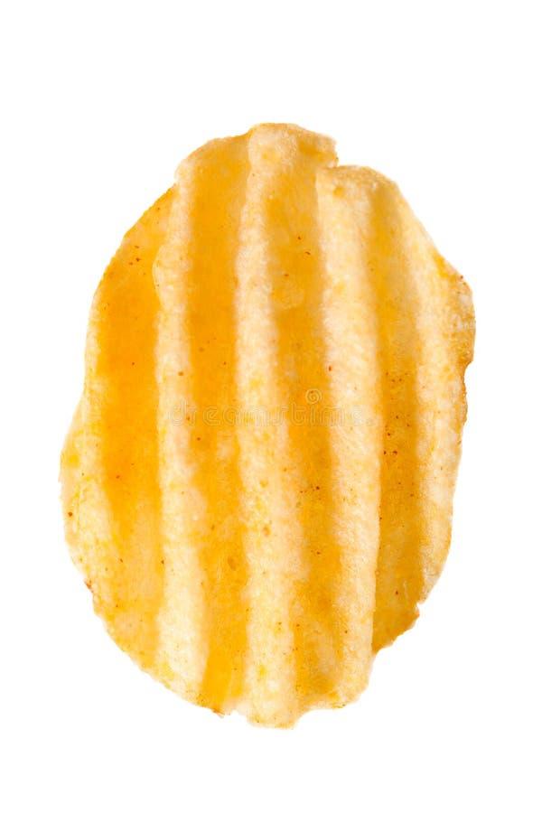 Krusig potatischip på vit royaltyfria foton