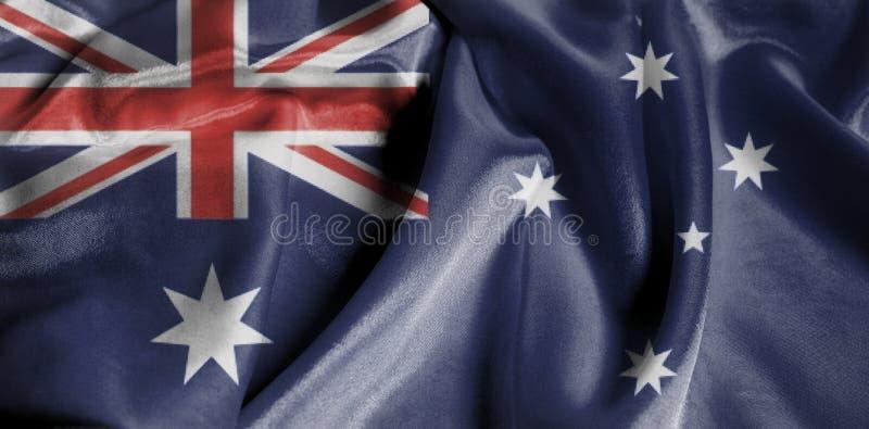 Krusig vinkande flagga av Australien royaltyfri bild