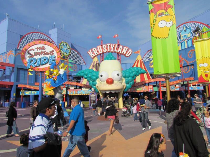 Krustyland dans le secteur de tour de Simpsons dans les studios universels Hollyw image stock