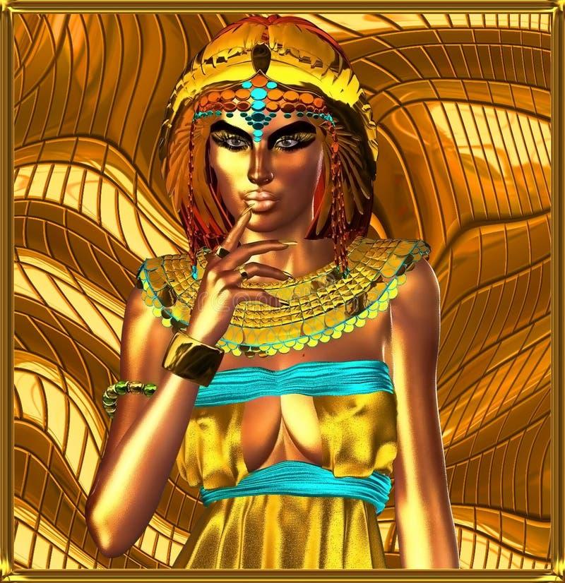 Kruszcowa egipska królowa na abstrakcjonistycznym tle royalty ilustracja