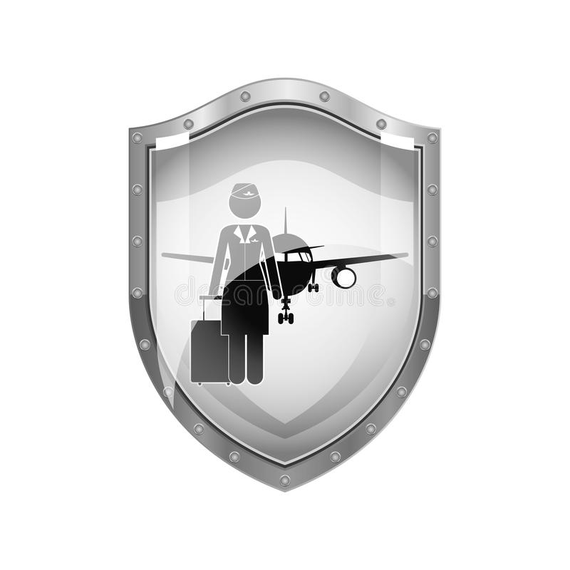 Kruszcowa osłona steward i samolot ilustracji