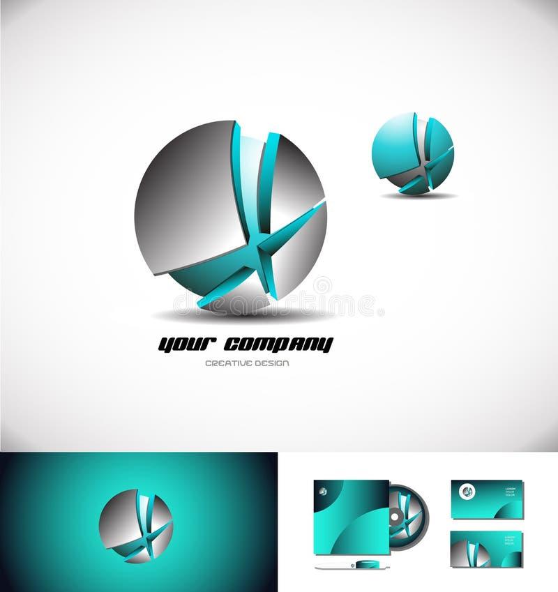 Kruszcowa sfera łamająca błękita 3d loga ikona ilustracja wektor